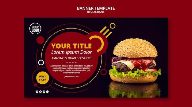 Restaurante de design de modelo de banner