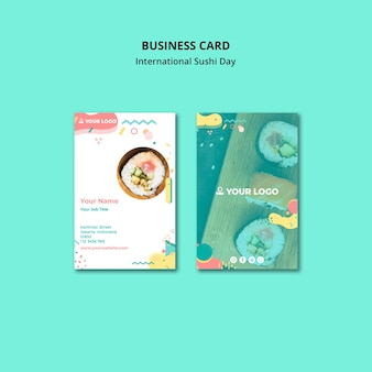 Restaurante de sushi de cartão de visita de negócios