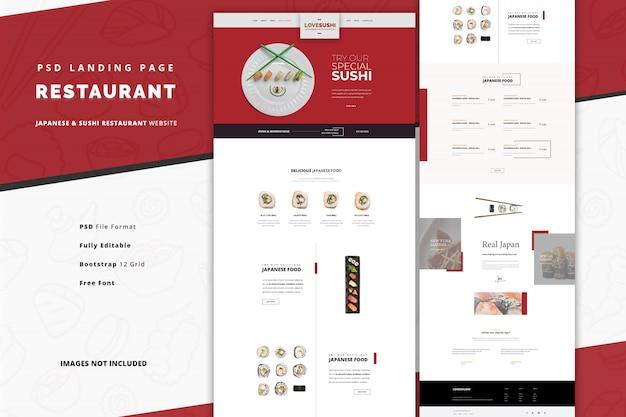 Restaurante japonês com pratos especiais de sushi e sashimi, página inicial