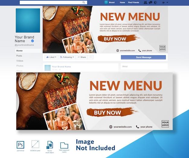 Restaurante novo lançamento do menu banner de cobertura de mídia social