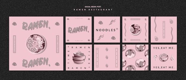 Restaurante para postagem de ramen nas redes sociais