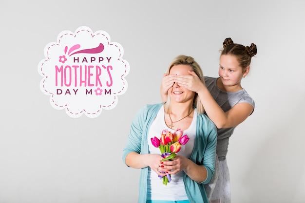 Retrato de dia das mães com rótulo