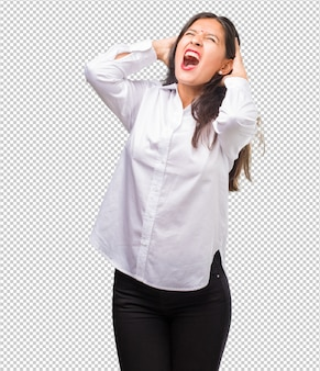 Retrato, de, jovem, indianas, mulher, louco, e, desesperado, gritando, descontrole