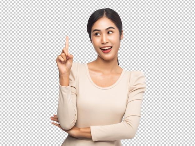 Retrato de jovem mulher asiática, apontando para cima