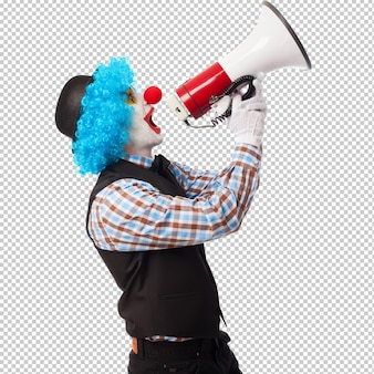 Retrato, de, um, engraçado, palhaço, shouting, com, um, megafone