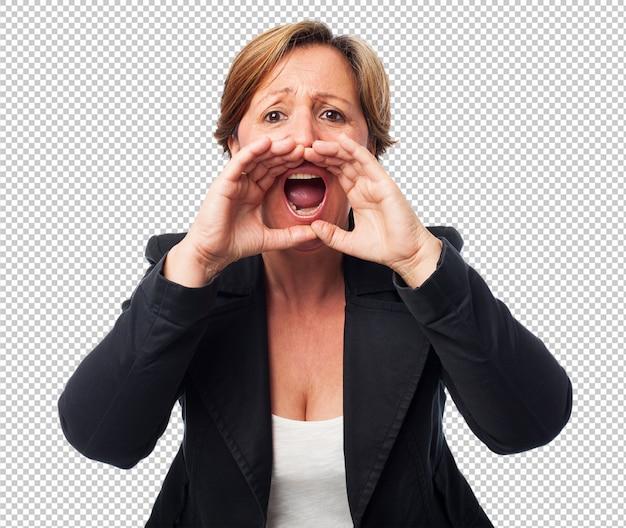 Retrato, de, um, maduras, mulher negócio, shouting