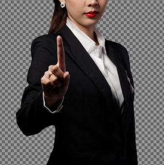 Retrato half body 40s asian business woman black formal terno touch screen digital, gerente feminina apontar para o sinal da câmera para adicionar a venda do mercado gráfico ou bitcoin do mercado de ações, espaço de cópia isolado