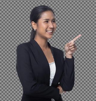 Retrato half body 40s asian business woman blue formal suit touch screen digital, gerente feminina apontar para o sinal da câmera para adicionar a venda do mercado gráfico ou bitcoin do mercado de ações, espaço de cópia isolado