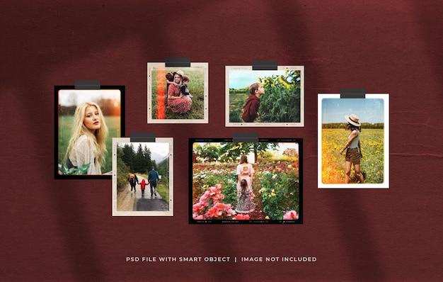 Retro photo film frame mood board mockup