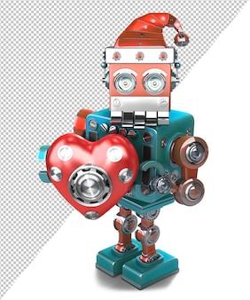 Retro santa robot com coração mecânico