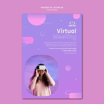 Reunião sobre modelo de pôster de realidade virtual