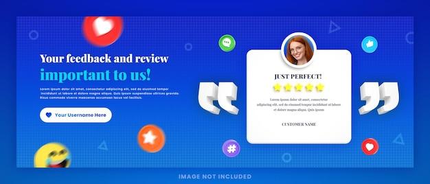 Revisão de feedback de cliente 3d ou depoimento em mídia social modelo de postagem de capa do facebook com maquete
