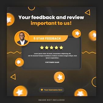 Revisão de feedback de cliente 3d ou modelo de postagem de instagram de depoimento em mídia social com maquete