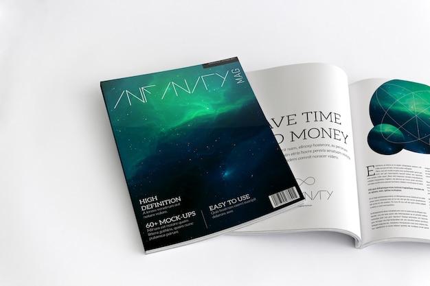 Revista aberta e maquete de capa