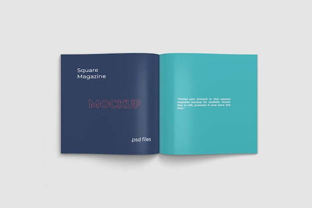 Revista aberta / maquete de livro vista de ângulo superior
