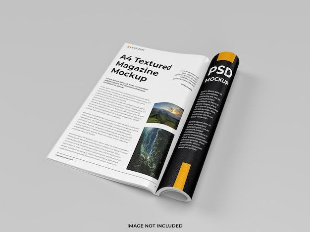 Revista aberta realista maquete dobrada vista direita