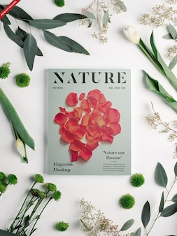 Revista com maquete de flores