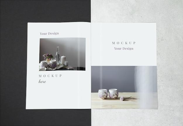 Revista de maquete em fundo preto cinza