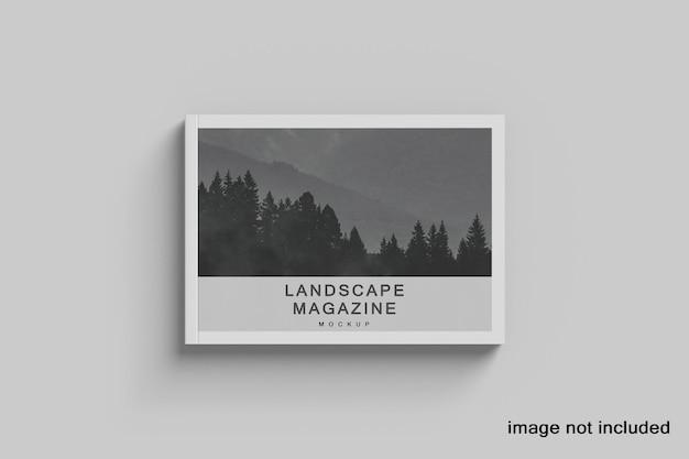 Revista de paisagem e maquete de livro com vista superior premium
