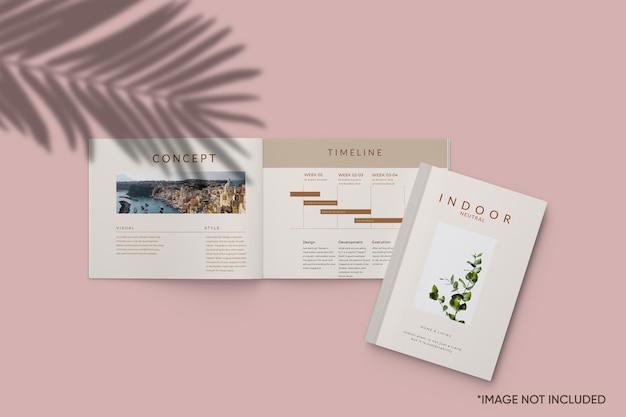 Revista minimalista e maquete da capa do livro
