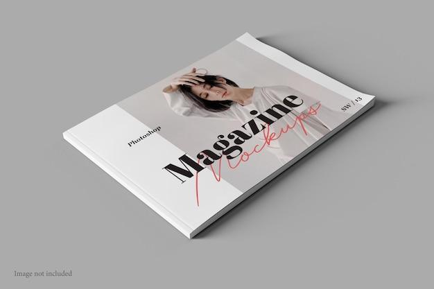 Revista paisagem e livro mockup vista em perspectiva