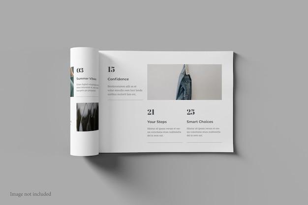 Revista paisagem e maquete de livro vista superior
