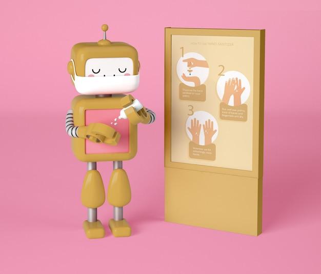 Robô com máscara médica higienizando as mãos