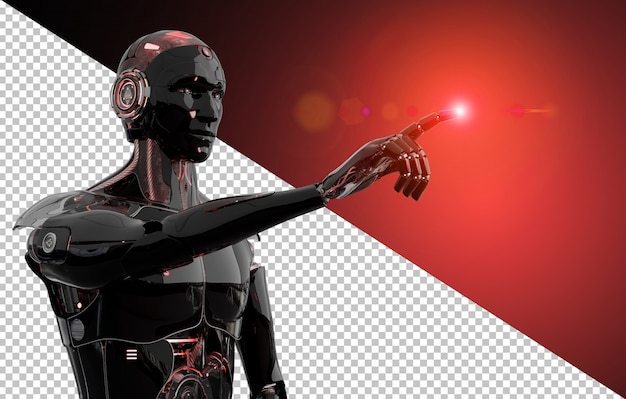 Robô inteligente preto e vermelho, apontando a renderização 3d de dedo corta a imagem