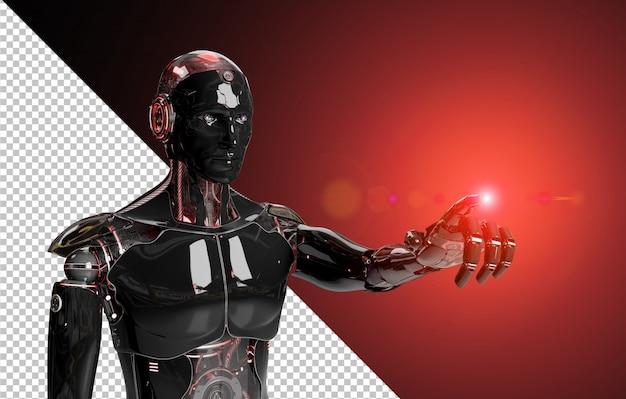 Robô inteligente preto e vermelho, apontando a renderização 3d de dedo cortado