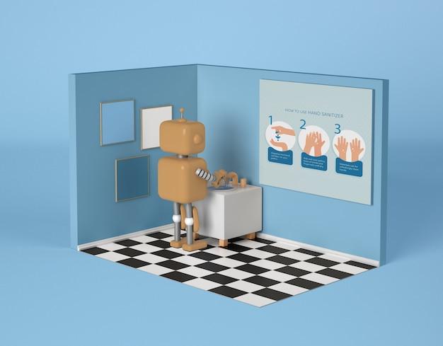 Robô lavando as mãos no banheiro