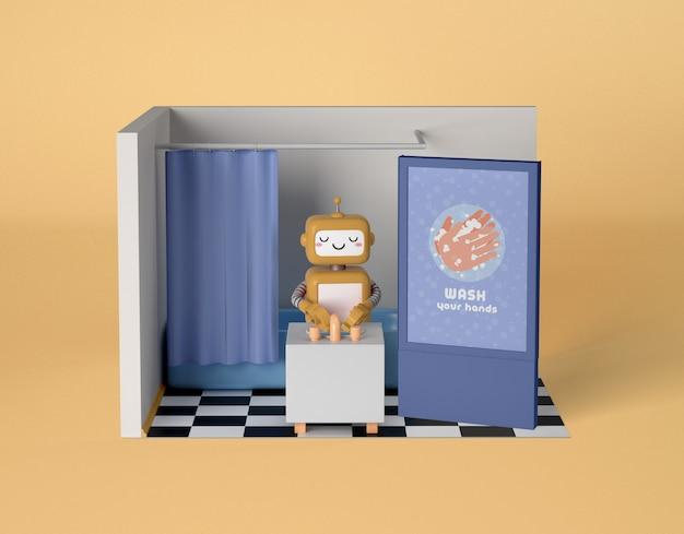 Robô, limpando as mãos no banheiro