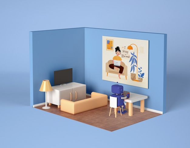 Robô relaxando em casa no quarto