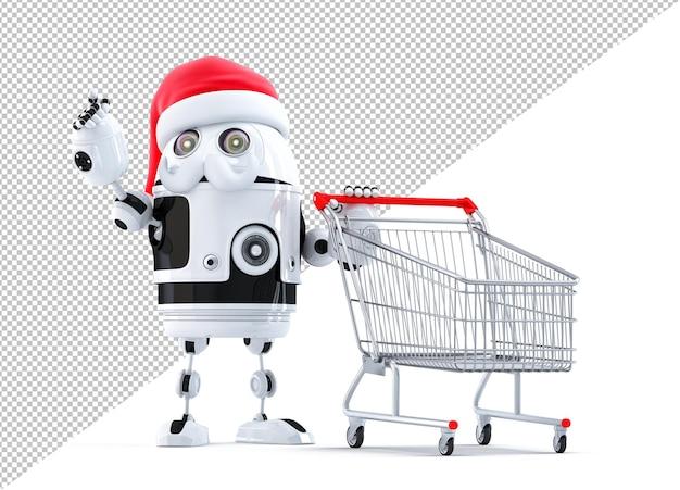 Robô santa com carrinho de compras, apontando para o objeto. isolado