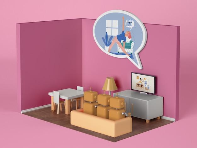 Robôs no sofá assistindo tv em casa