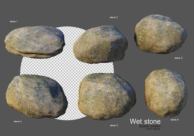 Rochas molhadas de várias formas