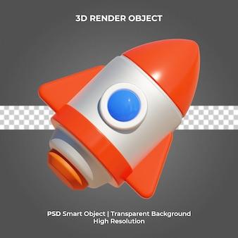 Rocket 3d render isolado psd premium