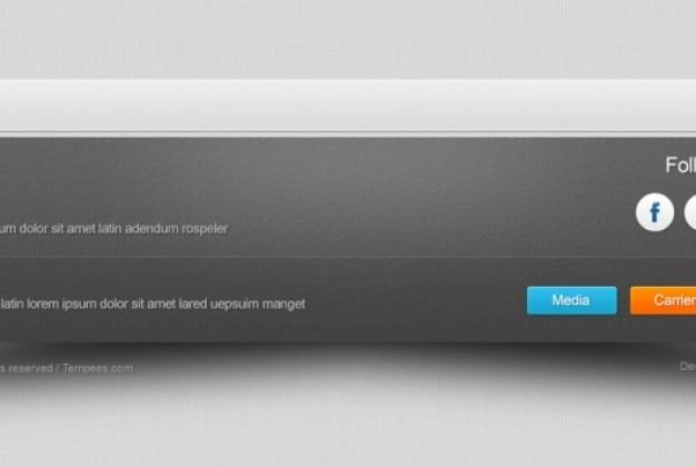 Rodapé de página web com texturas