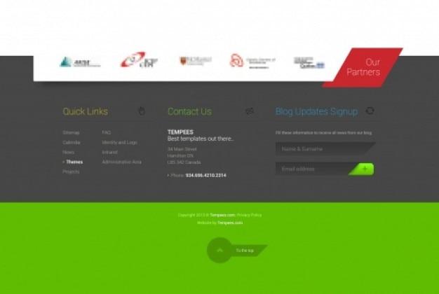 Rodapé verde com o logotipo do parceiro
