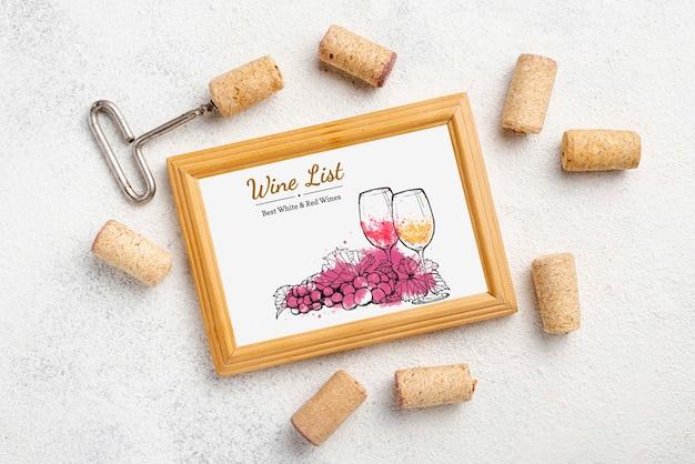 Rolhas de vinho com saca-rolhas e moldura