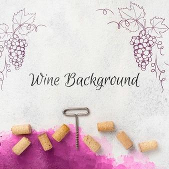 Rolhas de vinho com saca-rolhas