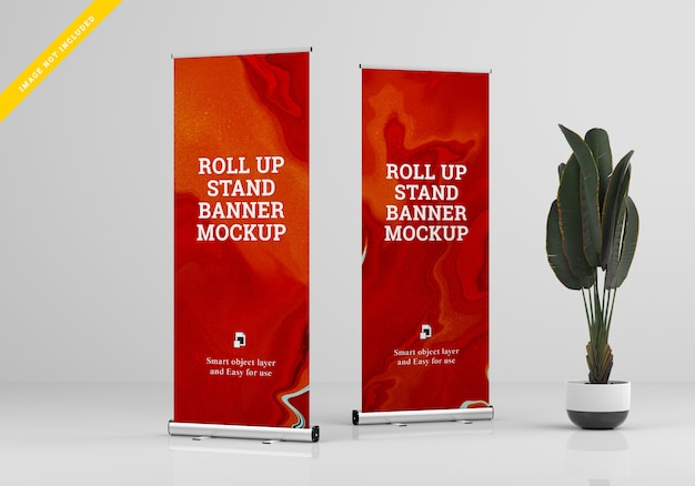 Rollup xbanner stand maquete. modelo psd.