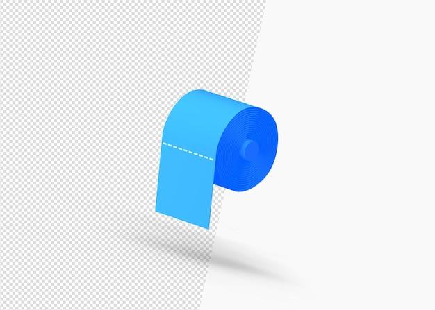 Rolo de papel higiênico ícone 3d com visão lateral