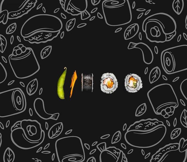 Rolos de sushi na mesa com mokc-up
