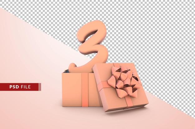 Rosa número 3 para feliz aniversário com caixa de presente rosa 3d isolada
