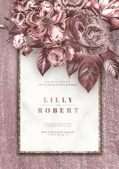 Rosas cor de rosa, convite de casamento