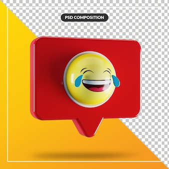Rosto com lágrimas de alegria símbolo emoji no balão de fala Psd Premium
