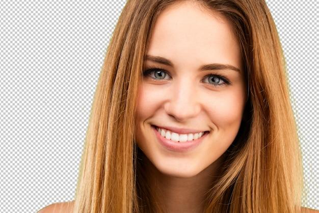 Rosto de menina blondy close-up