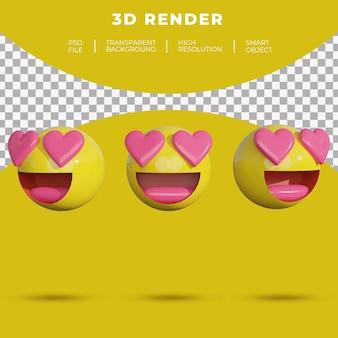 Rosto de mídia social emoji 3d apaixonado por renderização