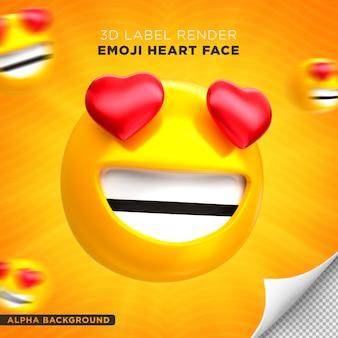 Rosto emoji coração renderização 3d