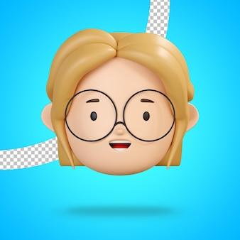 Rosto sorridente com a boca aberta para emoticon feliz de personagem feminina de óculos